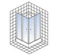 Drehfalttür als Eckeinstieg Schulte ExpressPlus Garant 100 x 100 cm Klarglas Profilfarbe chrom Montage auf Duschwanne