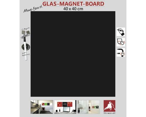 Glas Magnettafel schwarz 40x40 cm