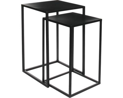 Beistelltisch 2er-Set Mica Goa 35 x 35 x 55 cm schwarz