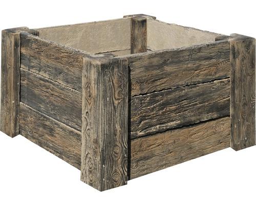 Beton Hochbeet Cube Antik dunkel braun mit vormontiertem Gewinde 120 x 120 x 69 cm