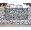 Fertiggabione 100 x 25 x 50 cm gefüllt mit Gabionensteinen Bianco Zandobbio 70-120 mm