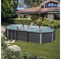 Aufstellpool WPC-Pool-Set oval 664x386x124 cm inkl. Sandfilteranlage, Skimmer, Leiter, Filtersand, Bodenschutzvlies & LED Projektor grau