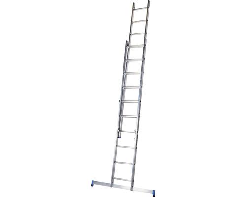 WERNER Schiebeleiter 2 x 10 Sprossen Aluminium Länge 2,85 - 4,55 m