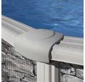 Aufstellpool Stahlwandpool-Set rund Ø 320x132 cm inkl. Sandfilteranlage, Skimmer, Leiter, Filtersand & Bodenschutzvlies Steinoptik