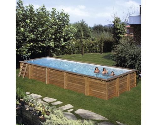 Aufstellpool Holzpool-Set eckig 1011x418x146 cm inkl. Sandfilteranlage, Skimmer, Leiter, Filtersand & Bodenschutzvlies Holz
