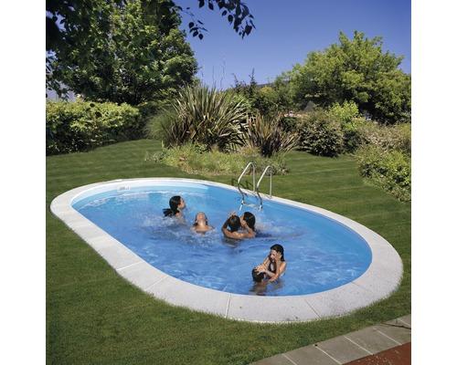 Einbaupool Stahlwandpool-Set oval 500x300x150 cm inkl. Sandfilteranlage, Skimmer, Leiter, Filtersand & Bodenschutzvlies weiß
