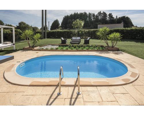 Einbaupool Stahlwandpool-Set oval 600x320x150 cm inkl. Sandfilteranlage, Skimmer, Leiter, Filtersand & Bodenschutzvlies weiß