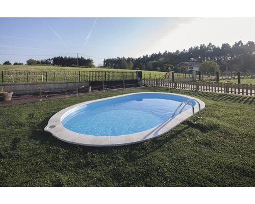 Einbaupool oval Einbaupool 700 x 320 x 120 cm 21210 l Weiß inkl. Sandfilteranlage