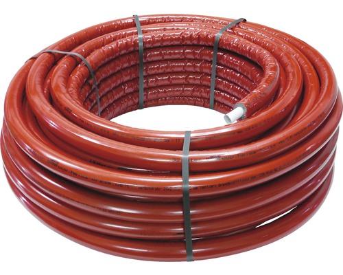 Alu-Verbundrohr isoliert 20 x 2 mm x 50 m mit 10 mm Isolierung rot