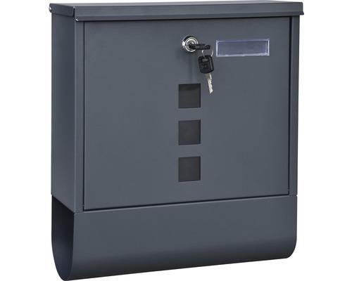 Briefkasten Stahlblech pulverbeschichtet BxHxT 305/96/335 mm anthrazit mit Klappe Zeitungsbox + Namensschild