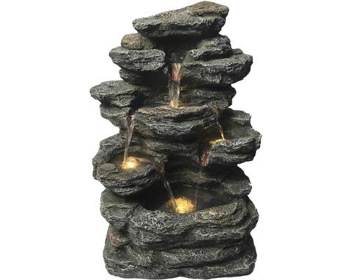 "Wandbrunnen ""Felsgestein LED"" Polyresin grau"