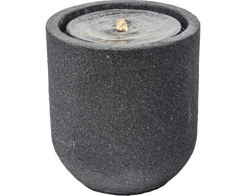 "Gartenbrunnen ""Zylinder LED"" Polyresin grau"