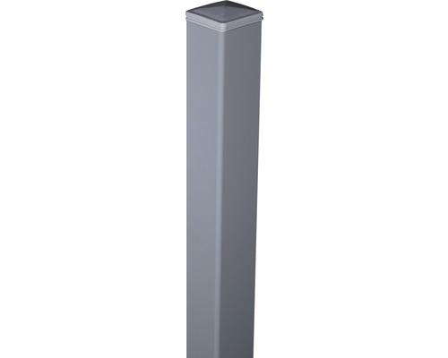 Alupfosten mit Kappe Novara/Belfort zE 6x6x150 cm, silbergrau