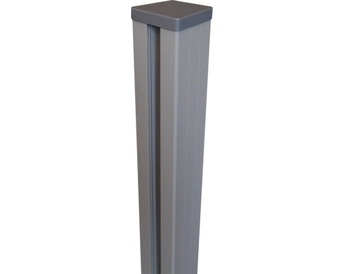 Alupfosten mit Kappe Flex/Lumino DB703zA inkl. Pfostenkappen 7x7x100 cm, silbergrau