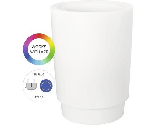 elho Pflanzgefäß Pflanzvase Pure Grade Smart LED rund Ø 47 cm H 66,4 cm RGB Lichtsteuerung über App inkl. Timer für außen und für innen frostbeständig und UV-beständig