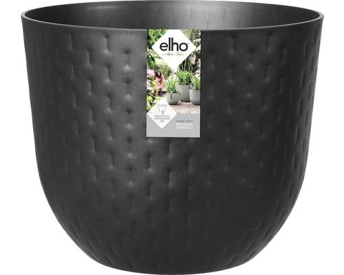 elho Pflanzgefäß Pflanztopf fuente grains rund Ø 30 cm H 24,3 cm schwarz für außen und für für innen frostbeständig und UV-beständig