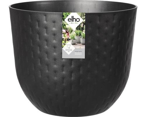 elho Pflanzgefäß Pflanztopf fuente grains rund Ø 38 cm H 31,4 cm schwarz für außen und für für innen frostbeständig und UV-beständig