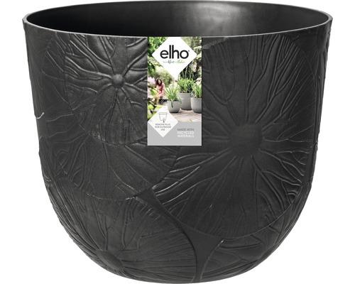 elho Pflanzgefäß Pflanztopf fuente lily Ø 38 cm H 31,4 cm schwarz für außen und für innen frostbeständig und UV-beständig