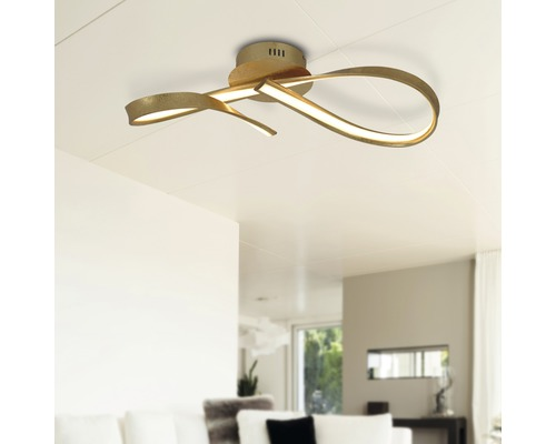LED Deckenleuchte dimmbar 22W 1100 lm 3000 K warmweiß mit Wanddimmer gold L 630 mm