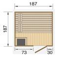 Saunahaus Weka Naantali inkl.9 kW Ofen u.ext.Steuerung mit Holztüre und Isolierglas wärmegedämmt