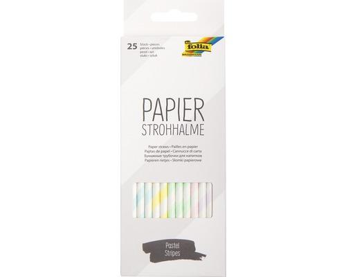 Papierstrohhalme pastel stripes 25 Stück