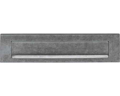 Briefkasten Briefeinwurf Intersteel rechteckig Messing BxH 325/77 mm altgrau natur mit Klappe + Öffnungsstopp