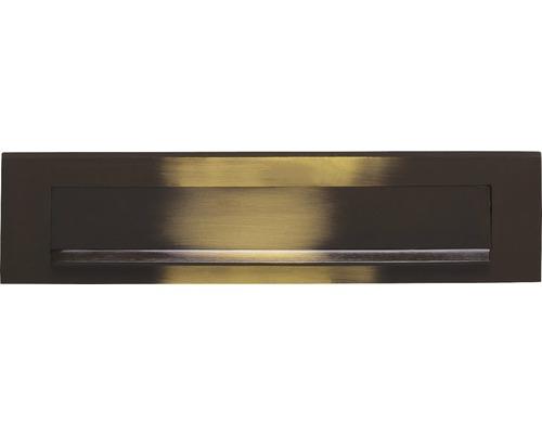 Briefkasten Briefeinwurf Intersteel rechteckig Edelstahl BxH 325/77 mm messing brüniert mit Klappe + Öffnungsstopp