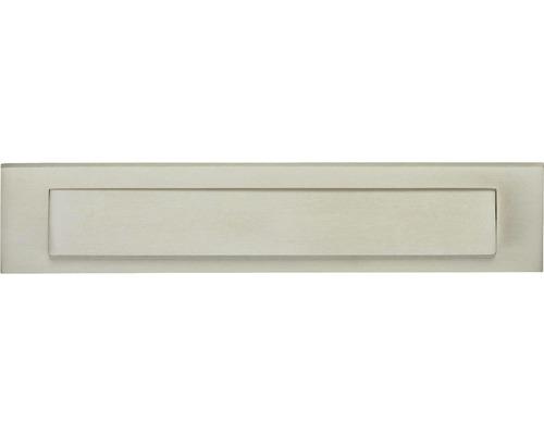 Briefkasten Briefeinwurf Intersteel rechteckig Messing BxH 343/70 mm nickel matt mit Klappe + Öffnungsstopp