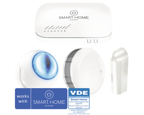 SMART HOME by hornbach Starter Set Sicherheit II inkl. Gateway, Fibaro 3in1 Multisensor, Fibaro Rauchmelder und Fibaro Tür-Fensterkontakt