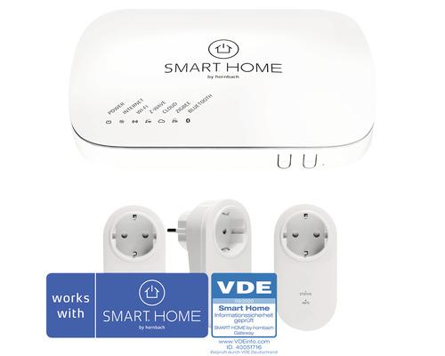 SMART HOME by hornbach Starter Set Stromsteuerung inkl. Gateway und 3 Stk Popp Zwischenstecker mit Messfunktion