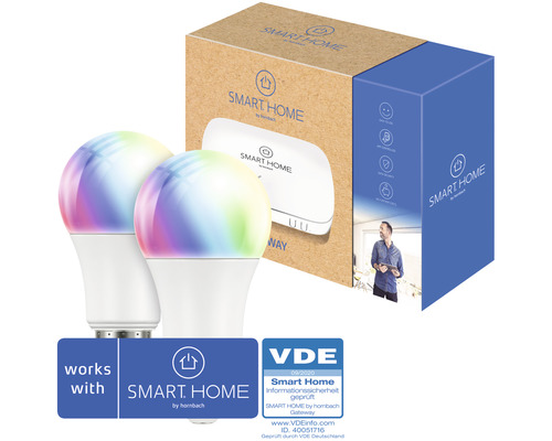 SMART HOME by hornbach Starter Set Licht inkl. Gateway und 2 Stk FLAIR Viyu E27 RGB