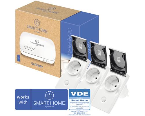 SMART HOME by hornbach Starter Set Outdoor Strom inkl. Gateway und 3 Stk Popp Outdoor Zwischenstecker IP44