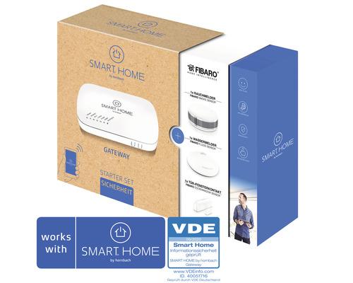 SMART HOME by hornbach Starter Set Sicherheit inkl. Gateway, Fibaro Tür-Fensterkontakt, Fibaro Rauchmelder und Fibaro Wassermelder