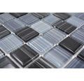 Glasmosaik Strich schwarz/weiß 30,2x32,7 cm 4mm stark