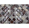 Glasmosaik mit Naturstein XCM M870 30,5x32,2 cm mix braun