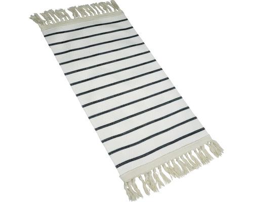 Fleckerlteppich Kelim gestreift schwarz-weiss 80x150cm
