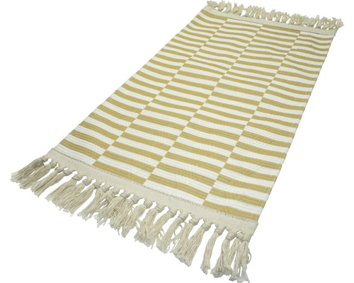 Fleckerlteppich Kelim Kacheln weiss-gelb 80x150 cm
