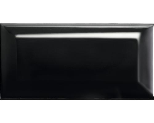 Steingut Facettenfliese Metro schwarz glänzend 7,5x15x0,7 cm