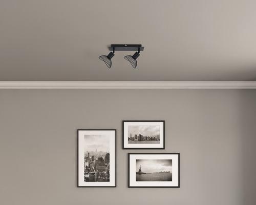 FLAIR Wandspot 2-flammig Metall schwarz B 275 mm