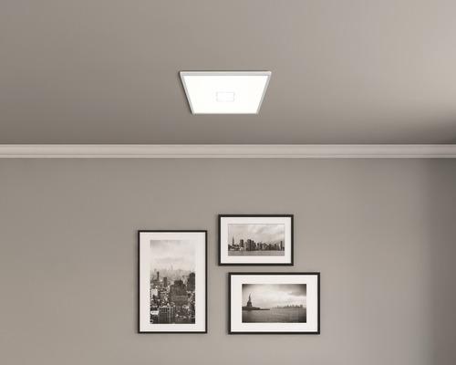 LED Deckenleuchte ultraflach 22W 3000 lm 4000 K neutralweiß HxBxL 29/420/420 mm weiß/silber mit Hintergrundbeleuchtungseffekt