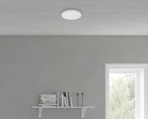 LED Sensor Deckenleuchte IP44 12W 1200 lm 4000 K neutralweiß HxØ 70/290 mm weiß/titan