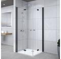 Eckeinstieg Drehfalttür Breuer Elana Komfort 90x80 cm Klarglas Profilfarbe schwarz