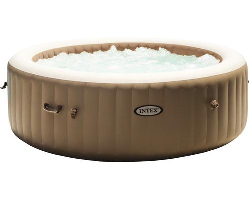 Aufblasbarer Whirlpool Intex Pure Spa 85 128428 Bubble Massage beige Ø 216 x 71 cm integriertes Kalkschutzsystem 140 Luftdüsen inkl. Thermoabdeckung