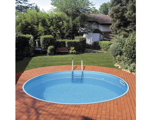 Einbaupool rund Ø 420 x 120 cm 14540 l Weiß inkl. Sandfilteranlage