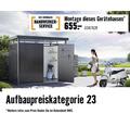 Gartenhaus biohort Panorama P4 mit Einzeltür, Regal und Dachrinne 257 x 254 cm silber
