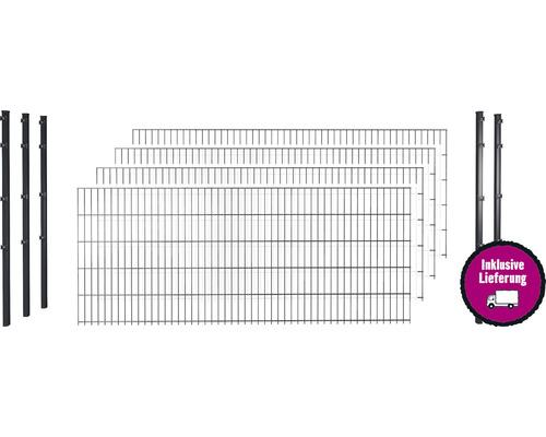 Doppelstabmattenset 8/6/8 inkl Pfosten mit Klemmhalter 183 cm x 10 m, anthrazit