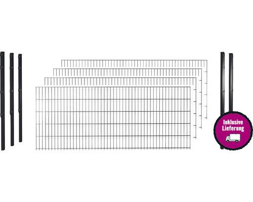Doppelstabmattenset 8/6/8 inkl Pfosten mit Flachhalter 123 cm x 10 m, anthrazit