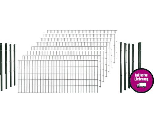 Doppelstabmattenset 6/5/6 inkl Pfosten mit 1 Eckpfosten mit Flachhalter 103 cm x 20 m, grün