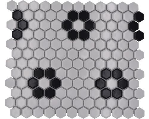 Keramikmosaik HX 035 weiß/schwarz 26x30 cm