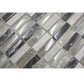 Glasmosaik mit Naturstein XIC S1252 mix graugrün 32,2x31 cm
